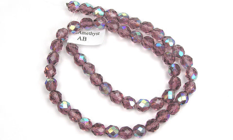 Light Amethyst AB coated, Czech Fire Polished Round Faceted Glass Beads, 16 inch strand