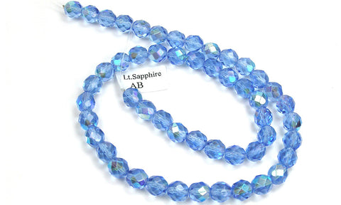 Light Sapphire AB coated, Czech Fire Polished Round Faceted Glass Beads, 16 inch strand