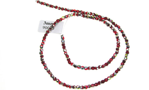 Light Siam Vitrail coated, Czech Fire Polished Round Faceted Glass Beads, 16 inch strand