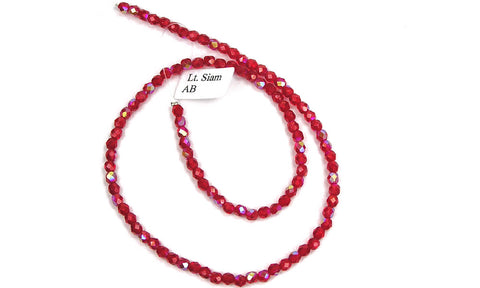 Light Siam AB coated, Czech Fire Polished Round Faceted Glass Beads, 16 inch strand or loose