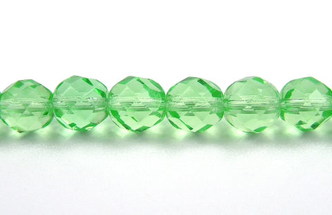 Light Peridot, Czech Fire Polished Round Faceted Glass Beads, 16 inch strand