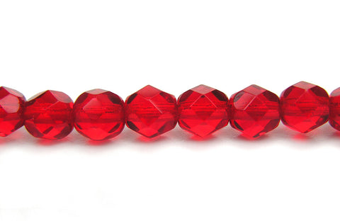 Light Siam, Czech Fire Polished Round Faceted Glass Beads, 16 inch strand