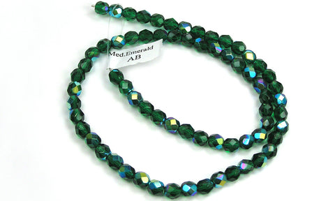 Medium Emerald AB coated, Czech Fire Polished Round Faceted Glass Beads, 16 inch strand