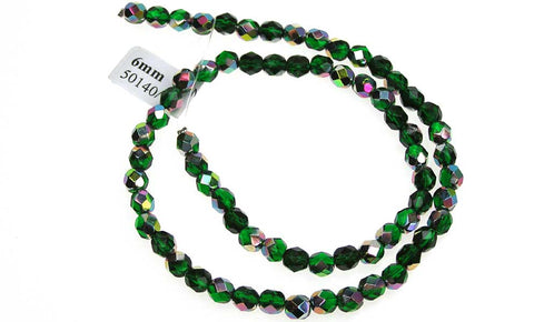 Medium Emerald Vitrail coated, Czech Fire Polished Round Faceted Glass Beads, 16 inch strand