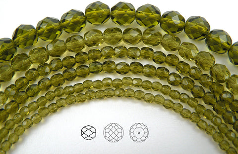 Olivine, Czech Fire Polished Round Faceted Glass Beads, 16 inch strand