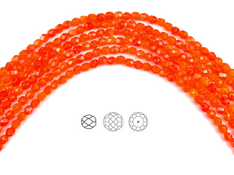 Orange Opal, Czech Fire Polished Round Faceted Glass Beads, 16 inch strand