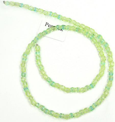 Peacock Neon, Czech Fire Polished Round Faceted Glass Beads, 16 inch strand