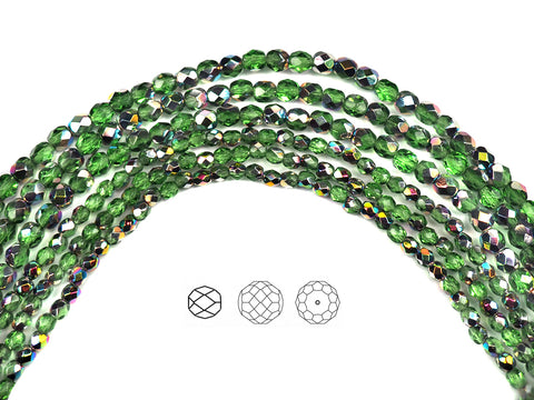 Peridot Vitrail coated, Czech Fire Polished Round Faceted Glass Beads, 16 inch strand