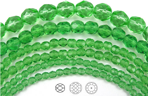 Peridot, Czech Fire Polished Round Faceted Glass Beads, 16 inch strand