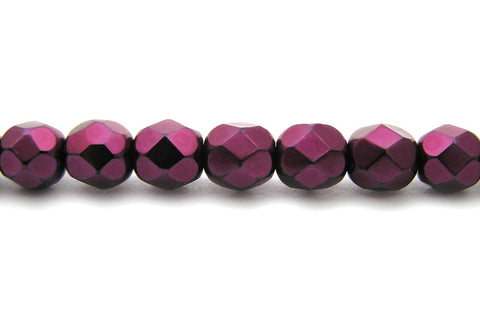 Pink Carmen Metallic Pearl, Czech Fire Polished Round Faceted Glass Beads, Faceted Pearls
