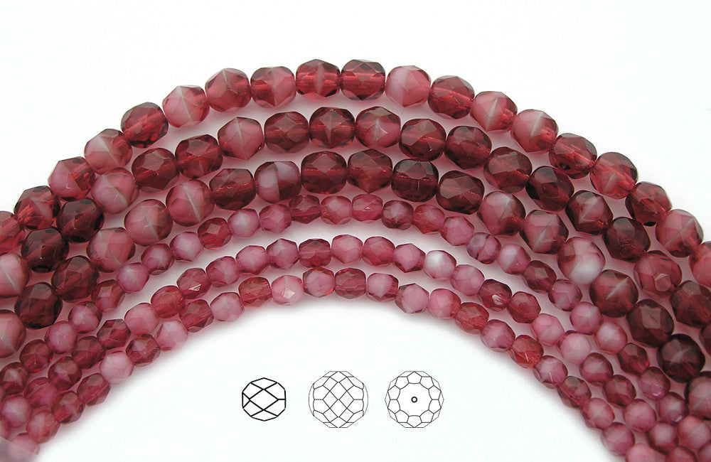 7in Czech Fire Polished Round Faceted Glass Beads in Pink White Givre 2-tone