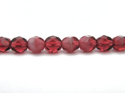 Pink White Givre, 2-tone combination, Czech Fire Polished Round Faceted Glass Beads, 7 inch strands