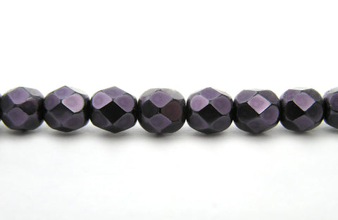 Purple Carmen Metallic Pearl, Czech Fire Polished Round Faceted Glass Beads, Faceted Pearls