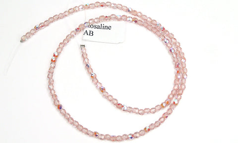 Rosaline AB coated, Czech Fire Polished Round Faceted Glass Beads, 16 inch strand