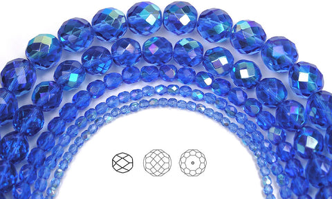 Sapphire AB coated, loose Czech Fire Polished Round Faceted Glass Beads