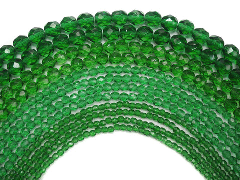 Shamrock Spring Green, Czech Fire Polished Round Faceted Glass Beads, 16 inch strand