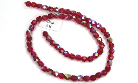 Siam AB coated, Czech Fire Polished Round Faceted Glass Beads, 16 inch strand