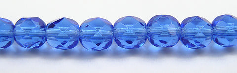 Sapphire, Czech Fire Polished Round Faceted Glass Beads, 16 inch strand