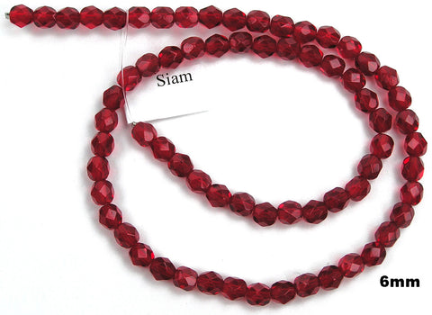 Siam, Czech Fire Polished Round Faceted Glass Beads, 16 inch strand
