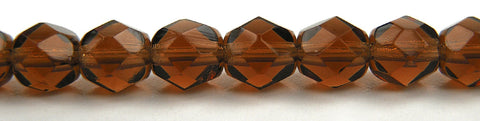 Smoked Topaz, Czech Fire Polished Round Faceted Glass Beads, 16 inch strand