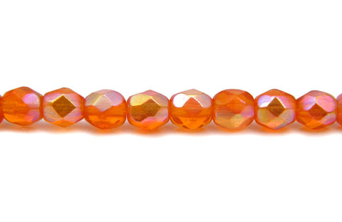 Sun AB coated, Czech Fire Polished Round Faceted Glass Beads, 16 inch strand