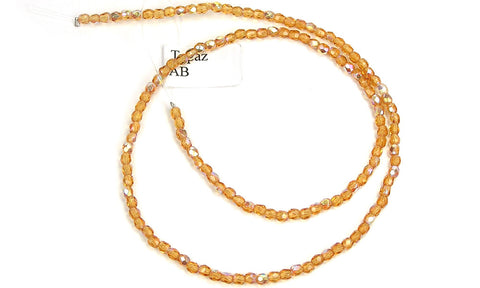 Topaz AB coated, Czech Fire Polished Round Faceted Glass Beads, 16 inch strand