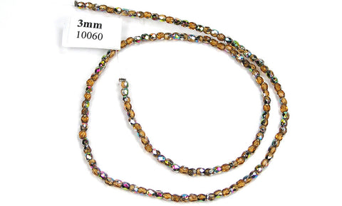 Topaz Vitrail coated, Czech Fire Polished Round Faceted Glass Beads, 16 inch strand