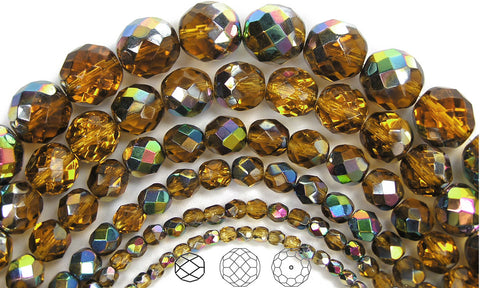 Topaz Vitrail coated, loose Czech Fire Polished Round Faceted Glass Beads