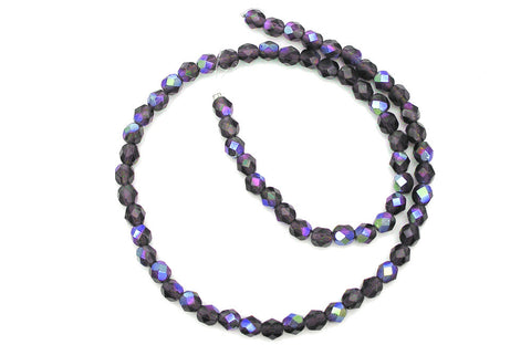 Tanzanite AB coated, Czech Fire Polished Round Faceted Glass Beads, 16 inch strand