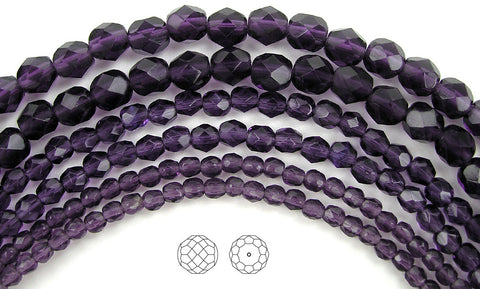 Tanzanite, loose Czech Fire Polished Round Faceted Glass Beads, purple