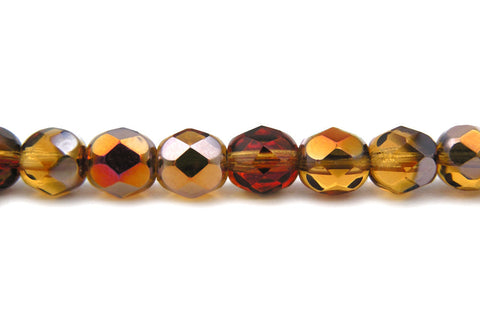 Topaz Santander coated, Czech Fire Polished Round Faceted Glass Beads, 16 inch strand