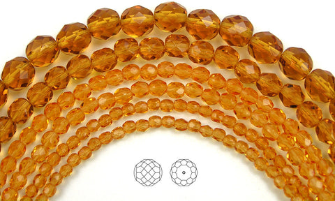 Topaz color, loose Czech Fire Polished Round Faceted Glass Beads, brown