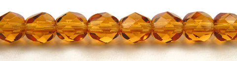 Topaz, Czech Fire Polished Round Faceted Glass Beads, 16 inch strand