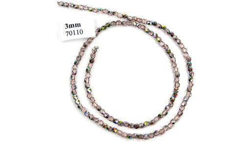 Vintage Rose Vitrail coated, Czech Fire Polished Round Faceted Glass Beads, 16 inch strand