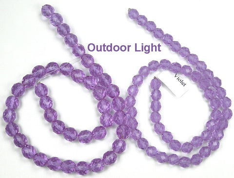 Violet, Czech Fire Polished Round Faceted Glass Beads, 16 inch strand