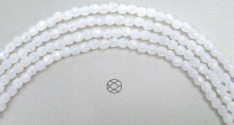 White Opal, Czech Fire Polished Round Faceted Glass Beads, 16 inch strand