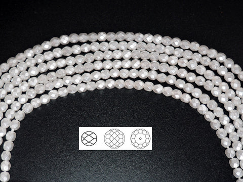 White Carmen Metallic Pearl, Czech Fire Polished Round Faceted Glass Beads, Faceted Pearls