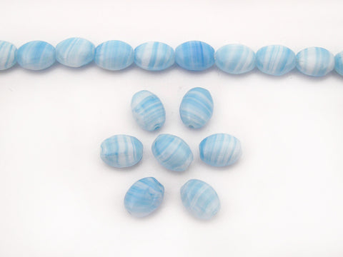 51 Czech flat oval druk beads 8x6mm 2-tone Agate Blue Turquoise, 16 inch strand