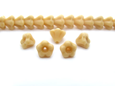 102 Czech glass bell flower druk beads 4x6mm Isabella Ivory Opaque, 16 inch strand