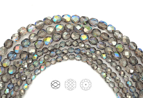crystal-graphite-rainbow-coated-czech-fire-polished-round-glass-beads-16-inch-strand-PJB-FP4-CryGraphRainb102