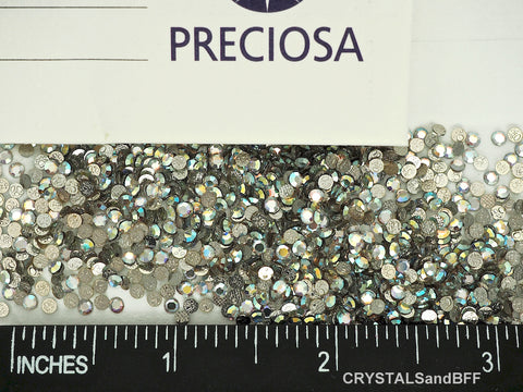 Crystal AB HOTFIX, Preciosa Chaton Roses Article 438-11-110 (8-faceted or 12-faceted MC Rhinestone Iron-on Flatbacks), Genuine Czech Crystals, clear with Aurora Borealis coating and Iron On Hot Fix Glue