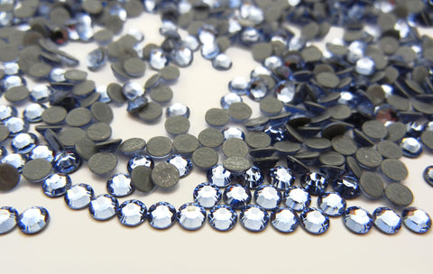 Swarovski Art.# 2028/HOTFIX Flatbacks, Light Sapphire Iron-on Rhinestones, ss6, ss16, ss20, ss30, ss34, lt. blue