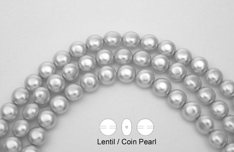 50 Czech Lentil, Coin Glass Pearls 9x6mm Silver Pearl