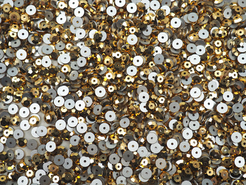 Crystal Aurum Gold, Preciosa Czech MC Loch Rose 1-hole Sew-on Stones Style #438-61-110, 5mm, 144 pieces, Clear with Golden coating, Silver Foiled, Center Hole Lochrosen