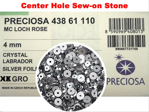 Crystal Labrador CAL, Preciosa Czech MC Loch Rose 1-hole Sew-on Stones Style #438-61-110, 4mm, 1440 pieces, Clear with Silver coating, Silver Foiled, Center Hole Lochrosen