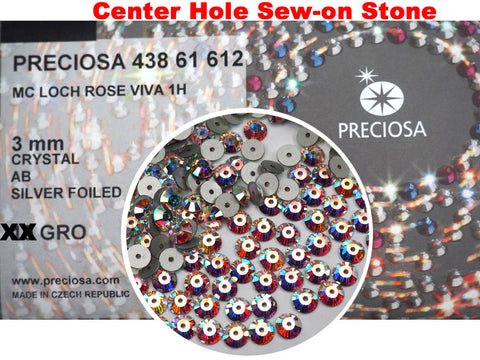 Crystal AB, Preciosa Czech MC VIVA Loch Rose 1-hole Sew-on Stones Style #438-61-612, 3mm, 360 pieces, Clear with Aurora Borealis, Silver Foiled, Center Hole Lochrosen