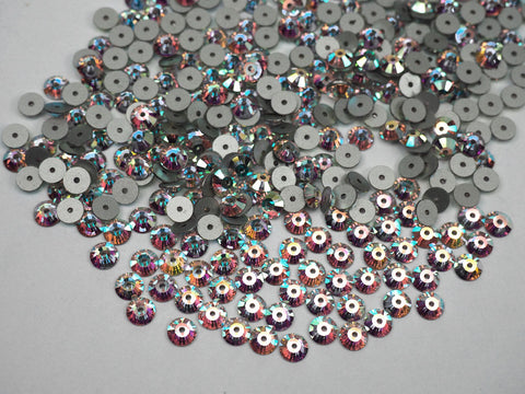 Crystal AB, Preciosa Czech MC VIVA Loch Rose 1-hole Sew-on Stones Style #438-61-612, 6mm, 72 pieces, Clear with Aurora Borealis, Silver Foiled, Center Hole Lochrosen