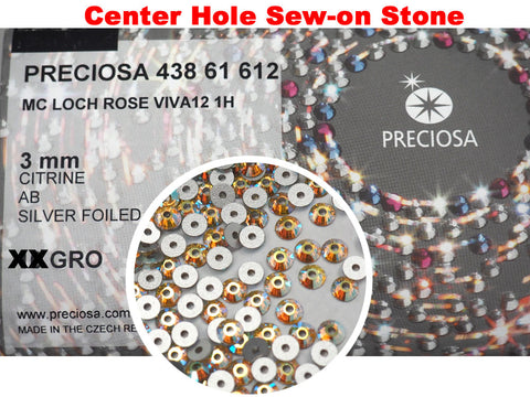 Citrine AB, Preciosa Czech MC VIVA Loch Rose 1-hole Sew-on Stones Style #438-61-612, 3mm, 360 pieces, Yellow with Aurora Borealis, Silver Foiled, Center Hole Lochrosen