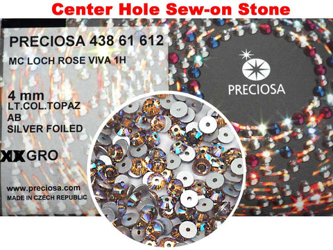 Light Colorado Topaz AB, Preciosa Czech MC VIVA Loch Rose 1-hole Sew-on Stones Style #438-61-612, 4mm, 288 pieces, Golden Brown coated with Aurora Borealis, Silver Foiled, Center Hole Lochrosen