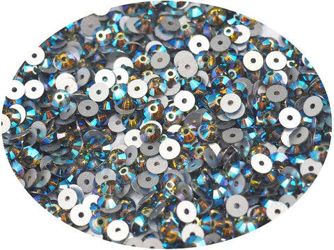 Olivine AB, Preciosa Czech MC VIVA Loch Rose 1-hole Sew-on Stones Style #438-61-612, 4mm, 288 pieces, Green coated with Aurora Borealis, Silver Foiled, Center Hole Lochrosen